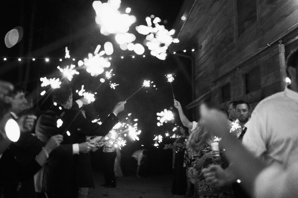 Sparkler exit at a rustic barn wedding at The Barn at Sleepy Hollow