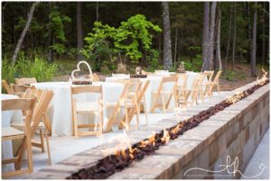table decor and fire pit at The Barn at Sleepy Hollow